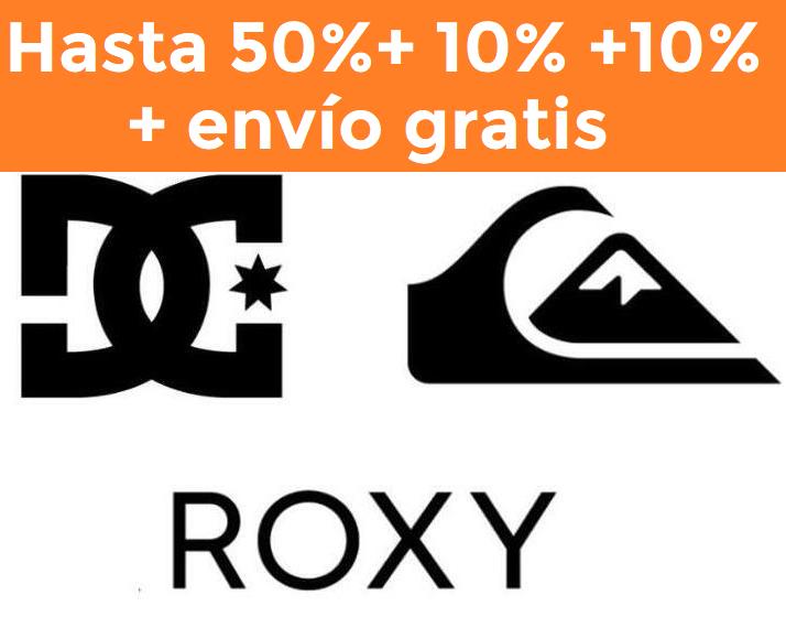 Hasta 50% + 10% +10% Extra + envío gratis en Quiksilver, Roxy y DC