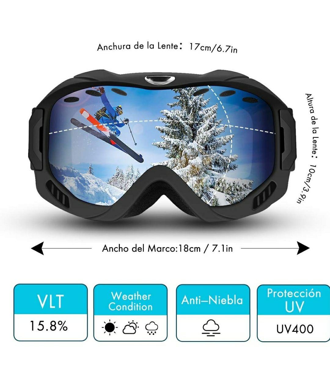 Gafas de esquí, snowboard unisex con protección UV de doble capa y antivao OTG.