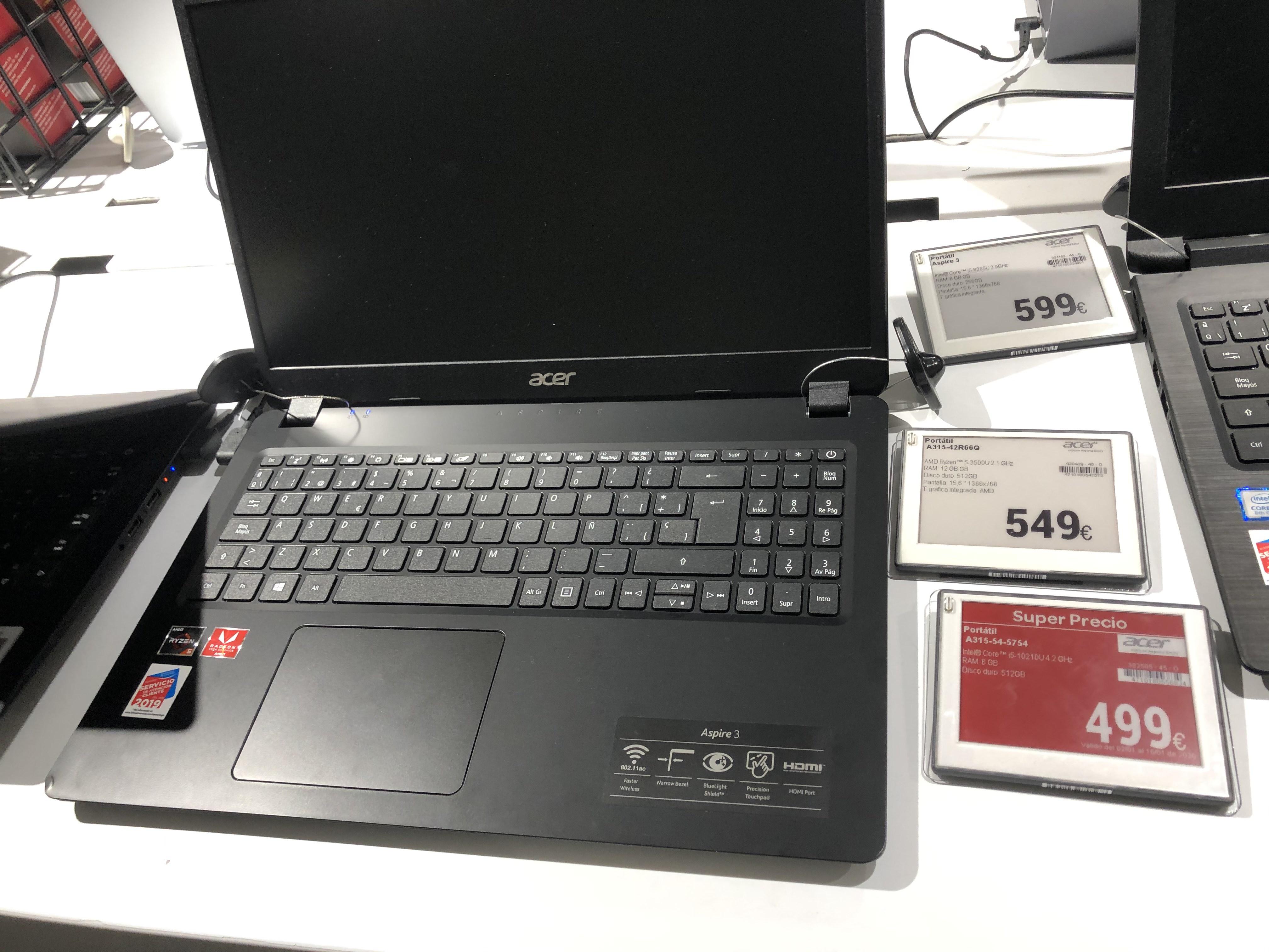 Portátil ACER i5 10th gen 8GB RAM 512GB SDD (Aspire 3 A315 54 5754)