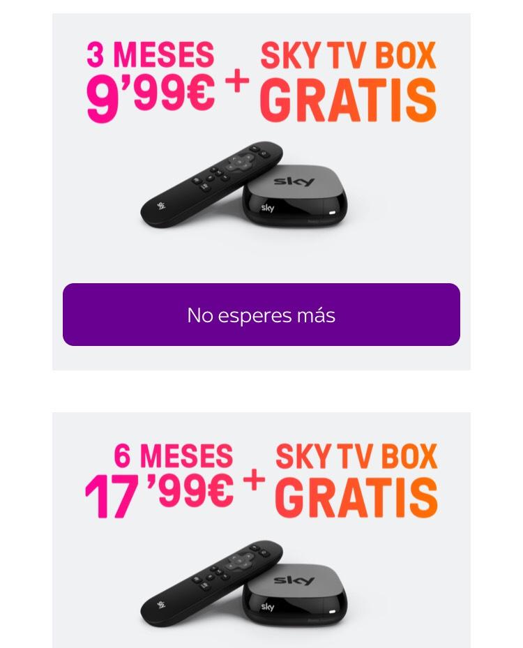 3 meses 9,99€ ó 6 meses 17,99€ + Sky TV Box gratis