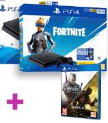 PS4 Slim 500GB + Contenido Fortnite + Dark Souls 3 + The Witcher 3: Wild Hunt