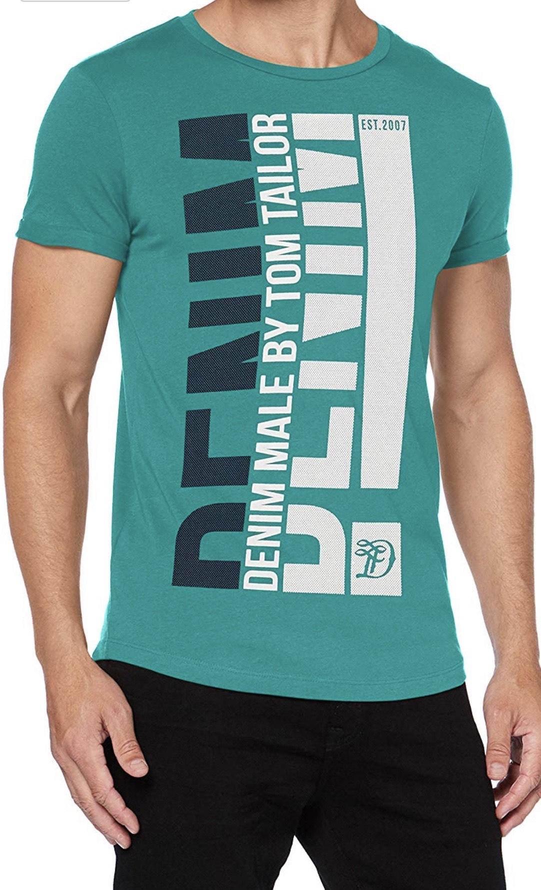 Tom Tailor Denim Print Camiseta para Hombre (Producto Plus)
