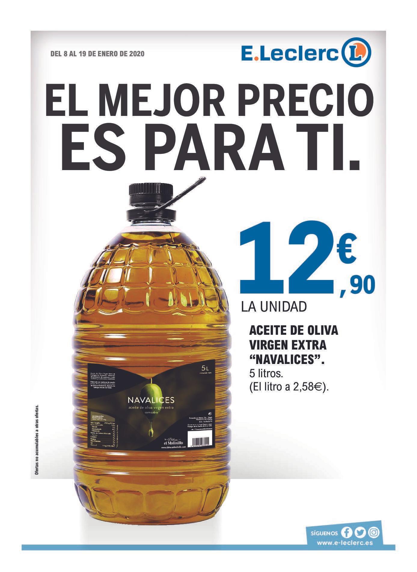 Garrafa de 5 litros aceite de oliva virgen extra (NAVALICES, E-leclerc)