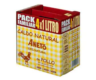 Pack 4 L. Caldo de pollo ANETO 4 uds. x 1 l.