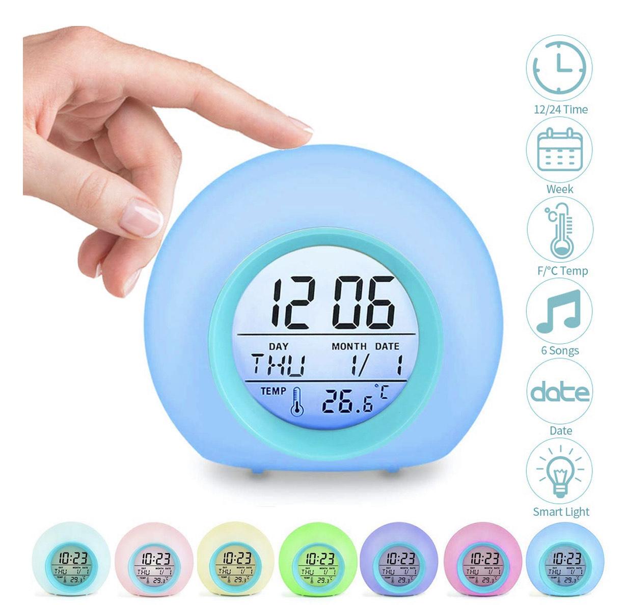Reloj despertador para niños 7 tonalidades RGB, 6 sonidos naturales, calendario y temperatura
