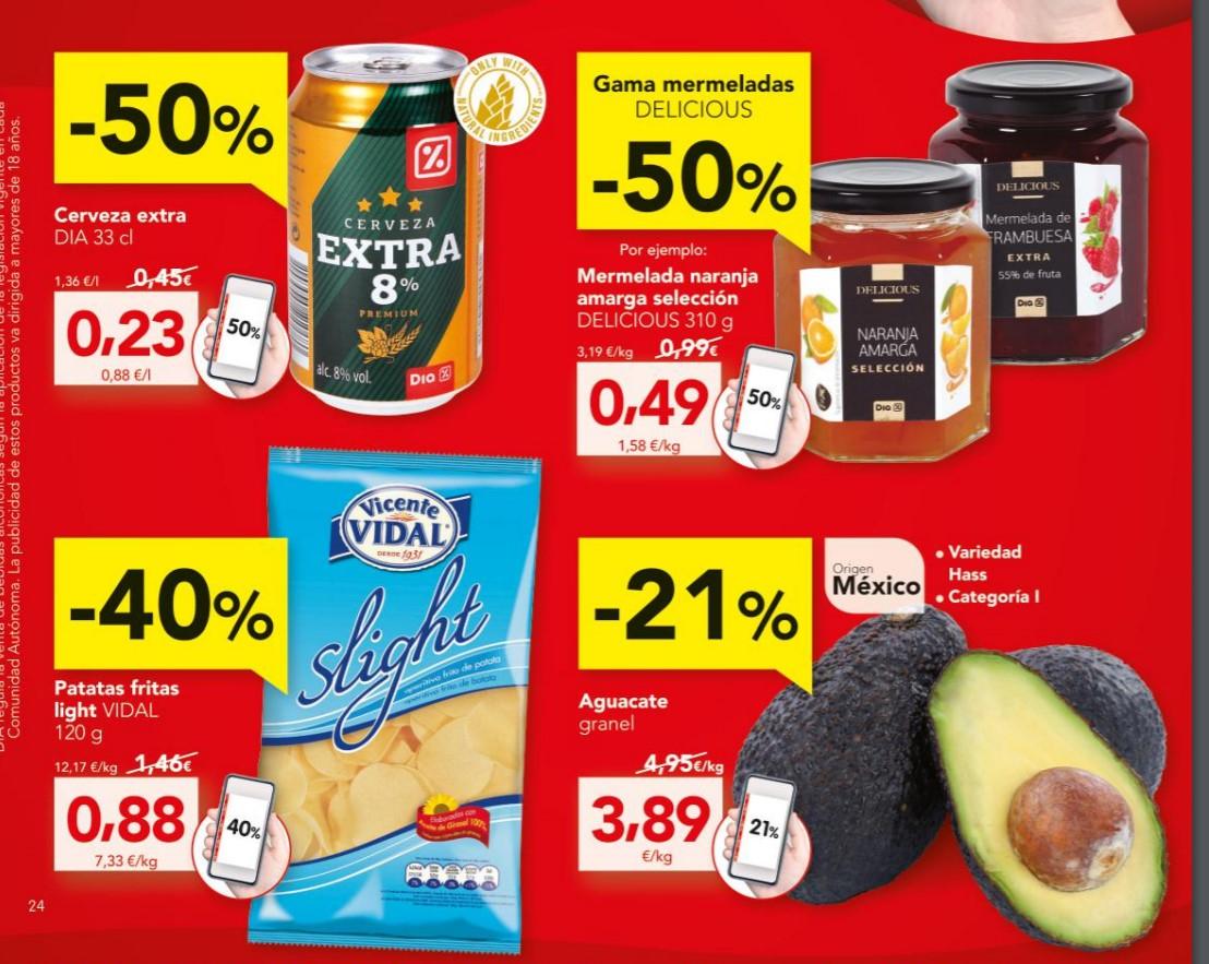 Cerveza Extra DIA 33cl a 0.23€, mermelada DELICIOUS por 0,49€ y otros ofertones del 16/01 al 22/01