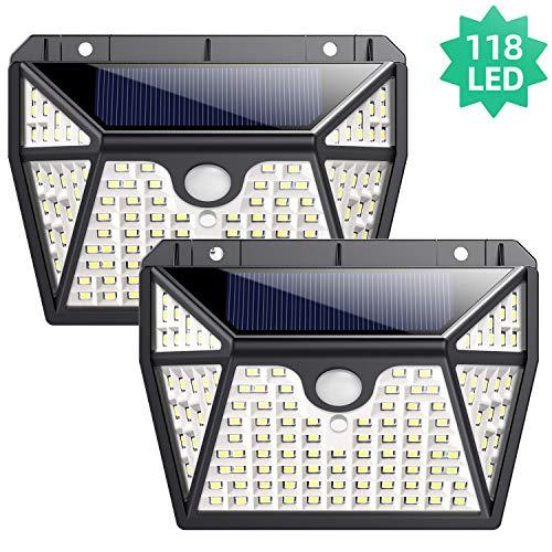Luz Solar Exterior, EkristIluminación de 5 Lados 2-Paquete