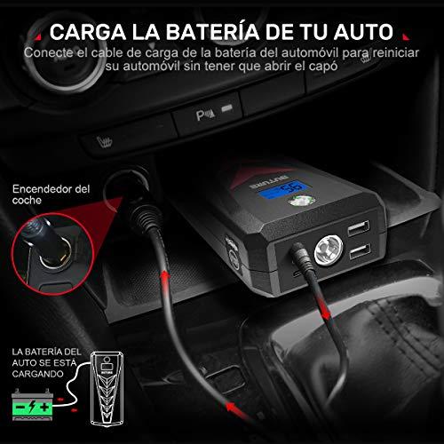 Arrancador de coche y batería externa con 4 modos de iluminación