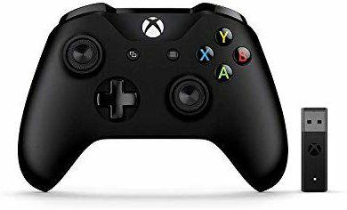 Microsoft – Mando Xbox + Adaptador Inalámbrico Gamepad PC, Xbox One Negro