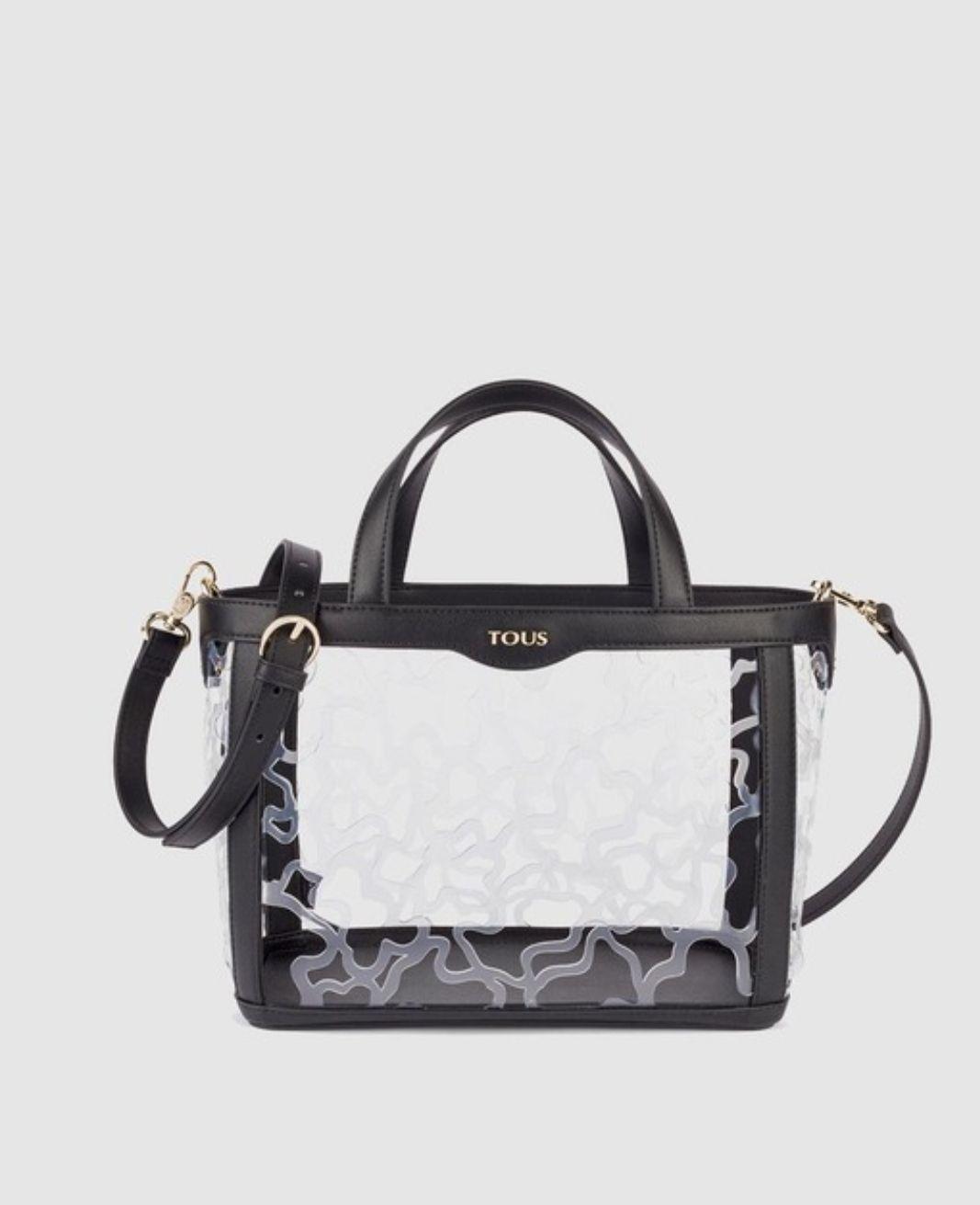 Bolso de mano pequeño Tous Kaos Shock de vinilo en negro con troquelado de logos