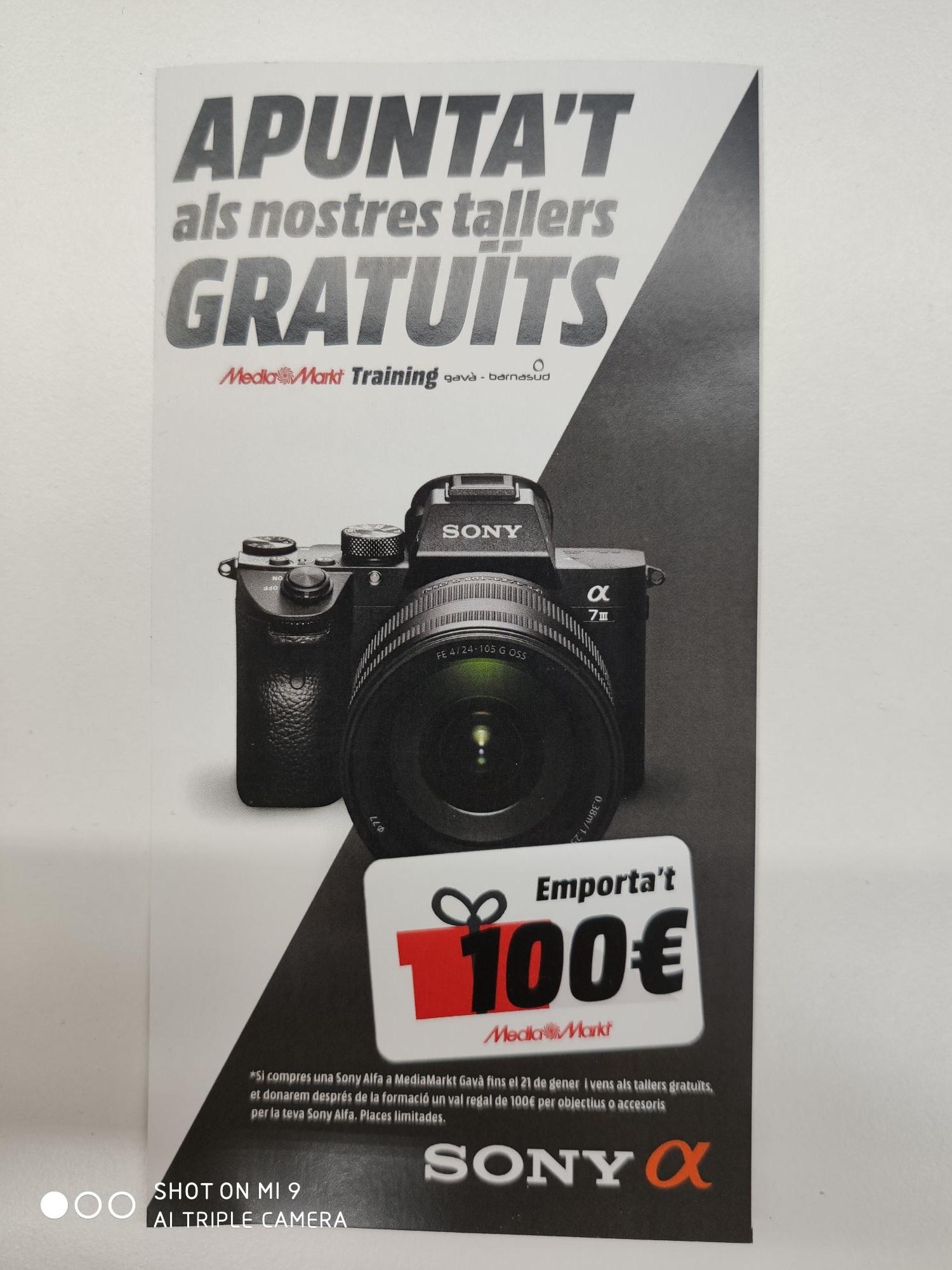 Curso presencial gratis de Fotografia + 100€ para accesorios (Media Markt Gava) Si compras Sony de la gama Alpha