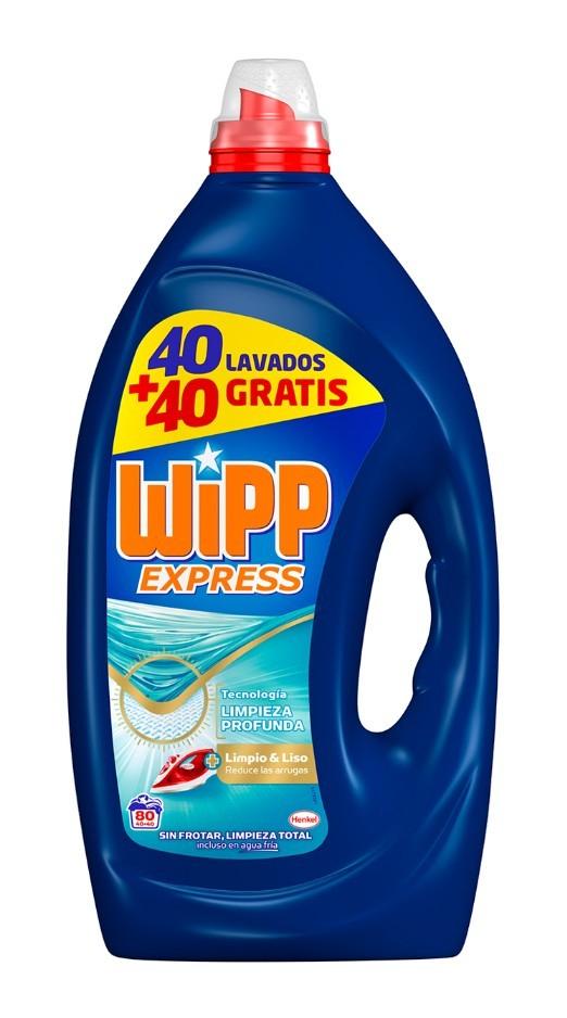 Detergente líquido gel Wipp Express 80 dosis supermercados Gadis (Galicia y Castilla y León)