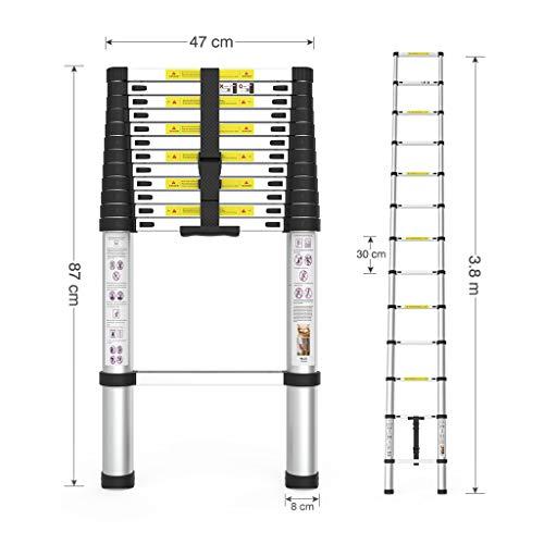 Escalera telescópica de aluminio plegable de 3,8 metros