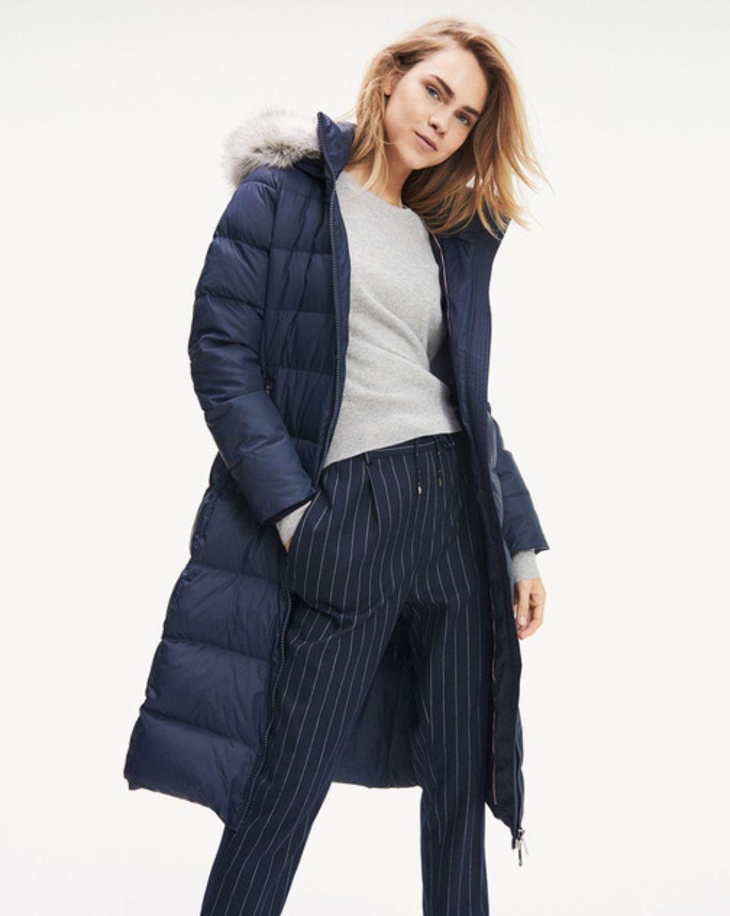 Abrigo acolchado de mujer Tommy Hilfiger azul marino con capucha