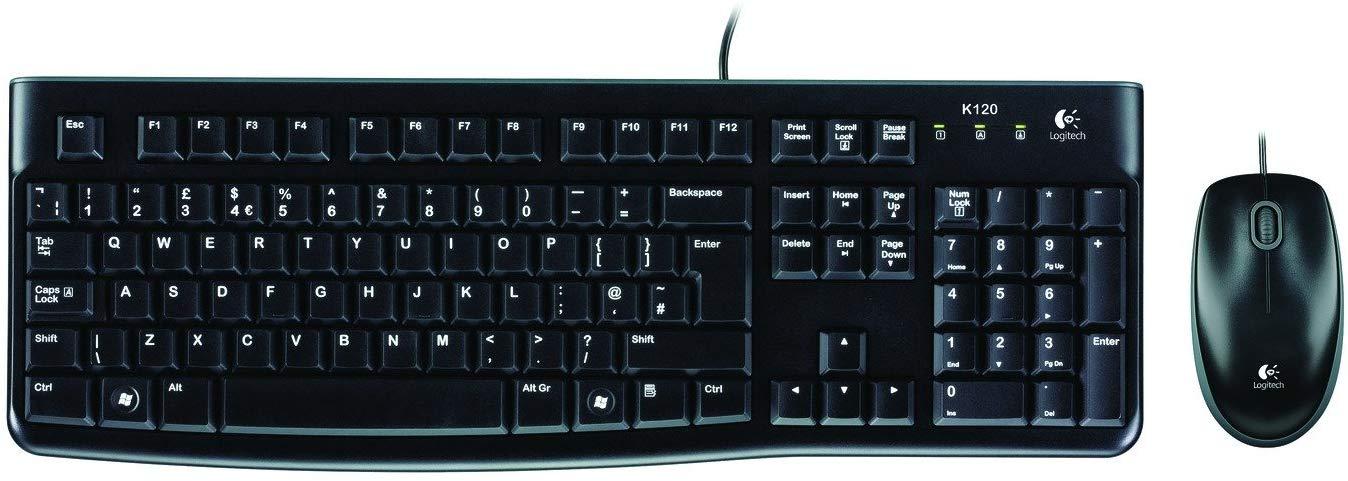 Logitech MK120 - Pack de teclado y ratón, color negro - QWERTY Castellano