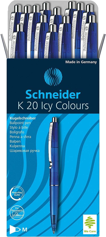 Schneider 20 bolígrafos retráctiles azul Amazon