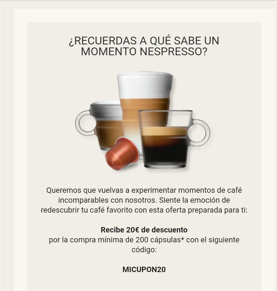 Nespresso te regala 20€ al comprar 20 paquetes de cápsulas.