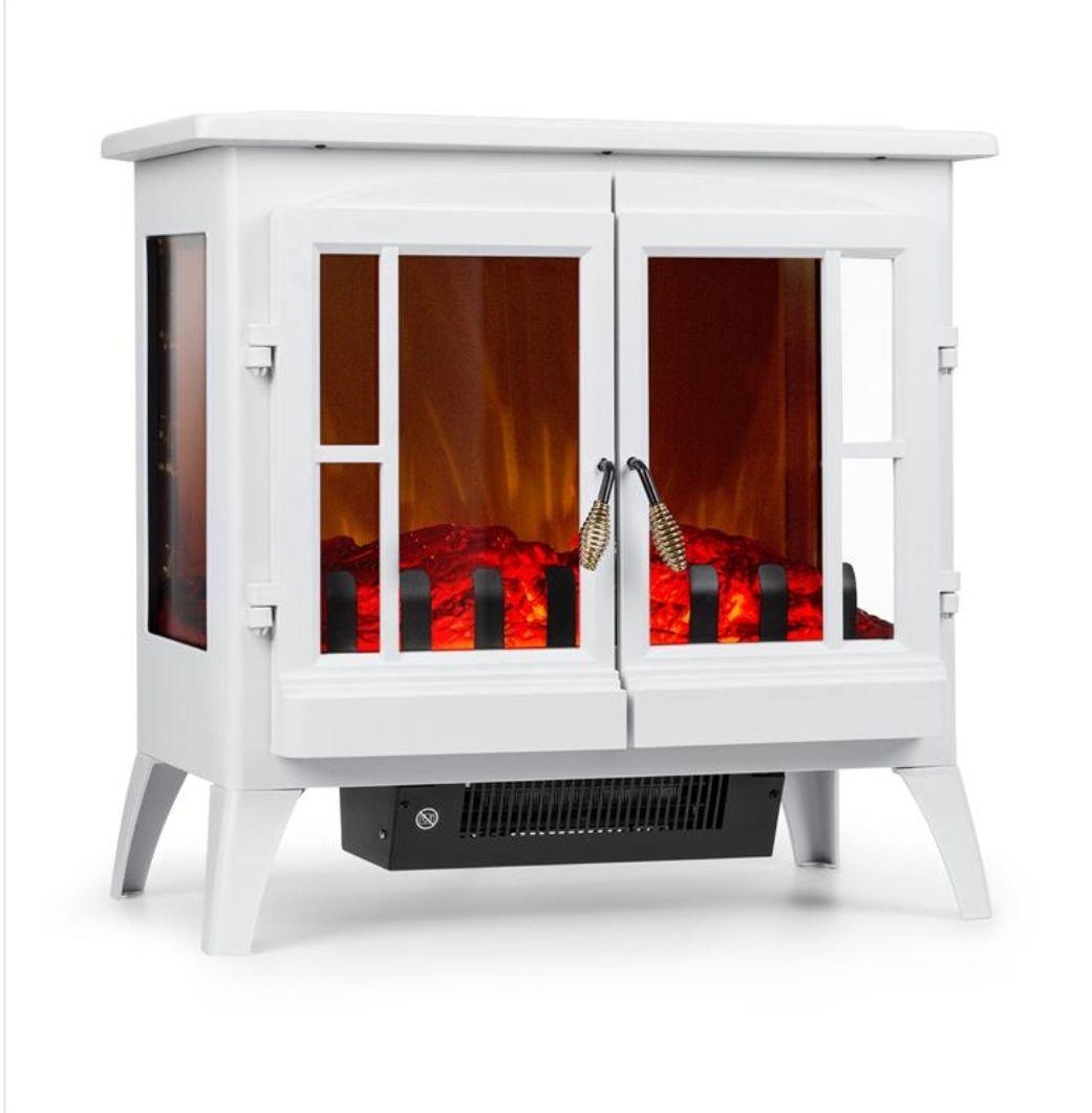 Chimenea eléctrica Calentador Calefactor Estufa 1000/ 2000 W Termostato Blanco