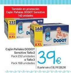 Pañales Dodot Sensitive recién nacido T2 (4kg-8kg.) 232 ud. -> A 0.17 cada pañal