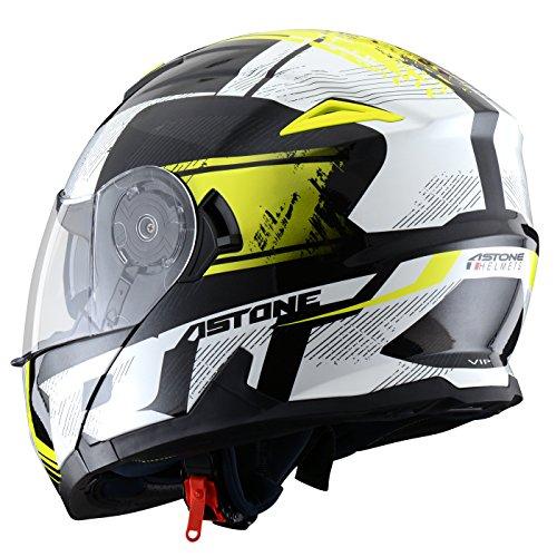 Astone Helmets, Casco, color Negro/Amarillo, talla XS