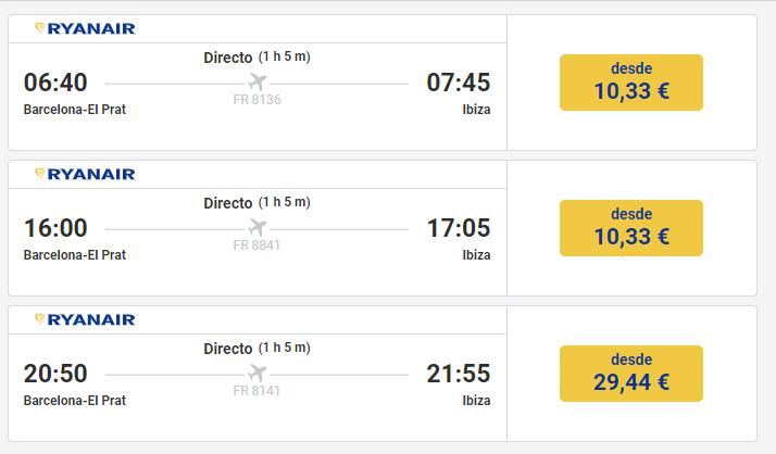 Vuelo a Ibiza desde 10,33€