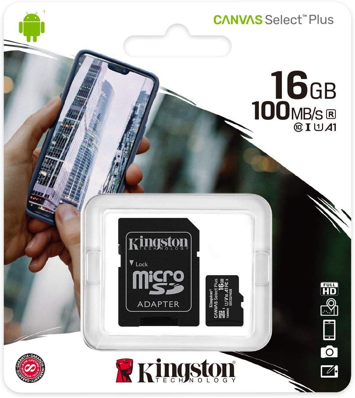 Kingston Canvas Select Plus Tarjeta microSD, SDCS2/16GB Class 10 con Adaptador SD