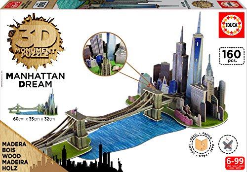 Educa Borrás- Puzzle 3D Dibujos Animados y cómic Puente de Brooklyn