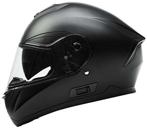 Casco Moto Integral ECE Homologado - YEMA YM-831 Casco de Moto Scooter para Mujer Hombre Adultos con Doble Visera -Negro Mate-S