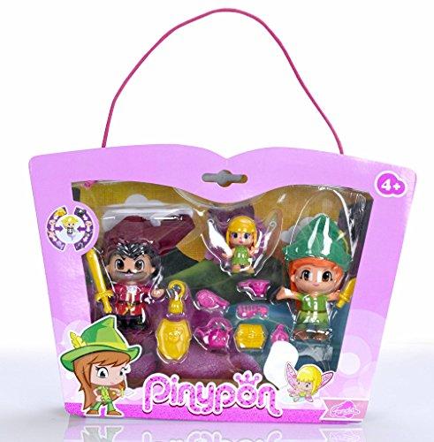 Pinypon Set con Figuras de Peter Pan, Garfio y Campanilla