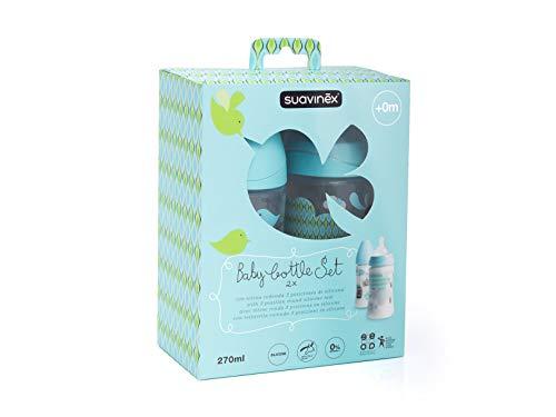 Suavinex Pack de 2 Biberones de 270 ml de capacidad con tetina de silicona