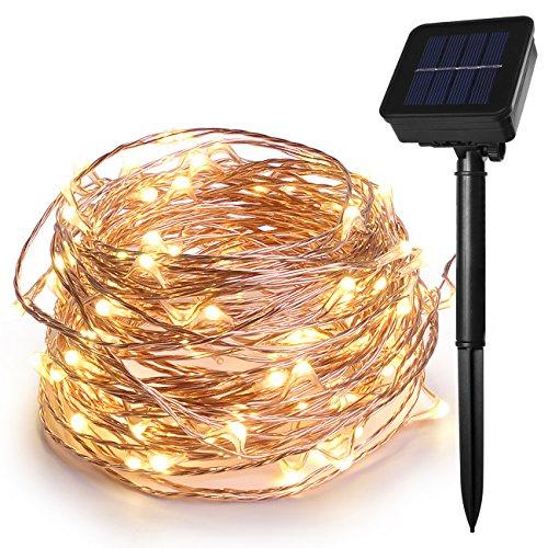 Guirnalda de luces de hada con energía solar de 100 ledes con 3 hilos de cobre de 12 m
