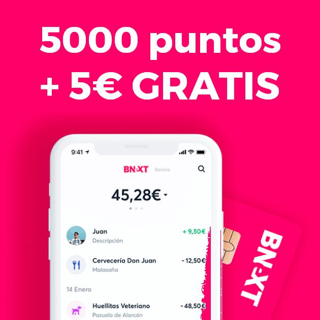 5000 puntos + 5€ GRATIS al hacerte Bnext