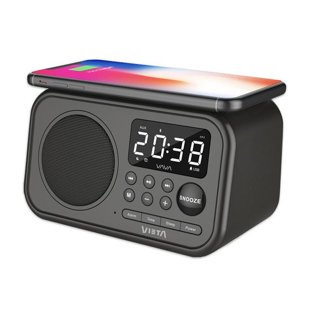 VIETA PRO Despertador Wake VH-AQ100BK Bluetooth con carga inductiva