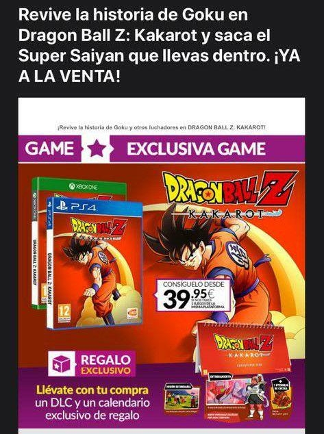 Dragon Ball Kakarot a 39,99 entregando 2 juegos de PS4 (Tiendas Game)