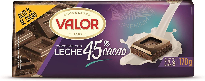 Chocolate con leche intenso VALOR 45% Cacao- 170 gr.