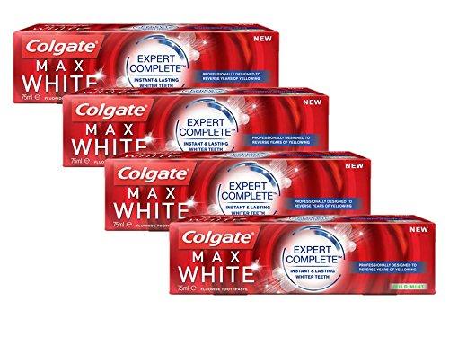 Pack de 4 Colgate Max White Expert Complete Dentífrico, 75 ml (Precio al tramitar)