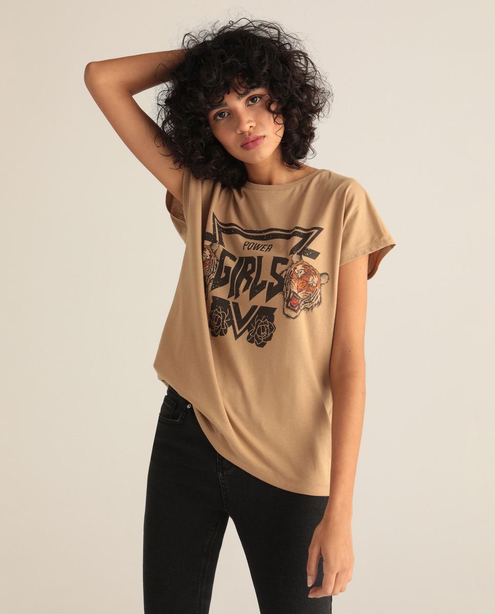 TALLA M - Camiseta de mujer con print de tigre y manga corta