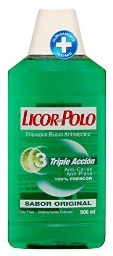 3 uds de 500ml de Licor del Polo - Enjuague Bucal Triple Acción - Antiplaca, Acción Antiplaca Bacteriana, Frescor Intenso