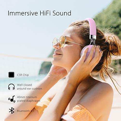 Tribit XFree Move - Auriculares estéreo inalámbricos con micrófono, Color Rosa