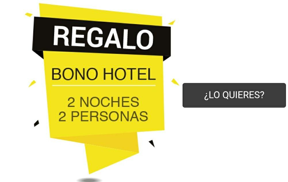 Bono Hotel de regalo por compra de producto en promoción