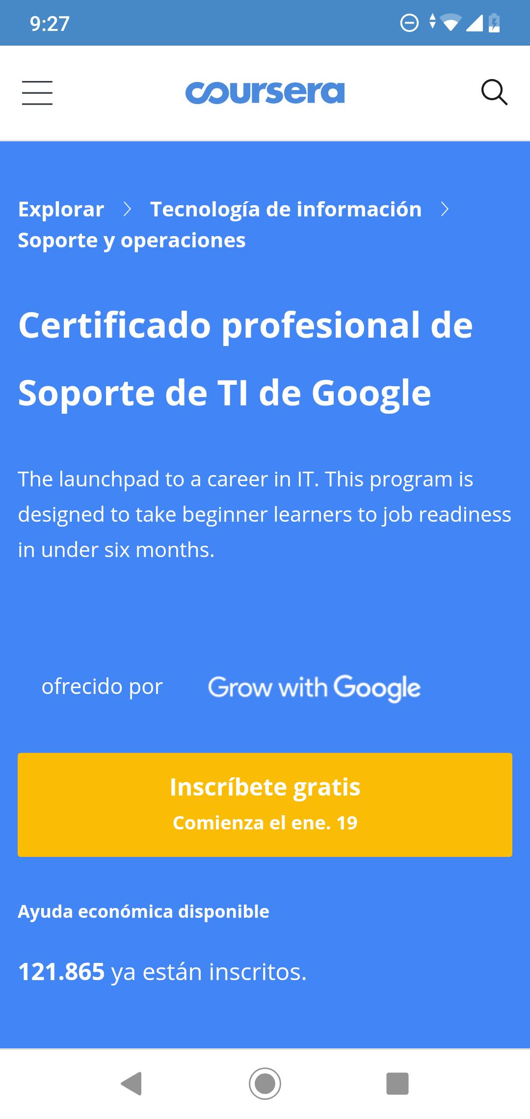 Curso gratis Google IT con certificación profesional