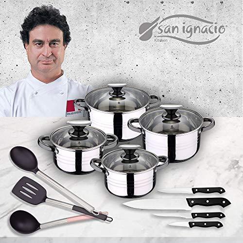 San Ignacio Premium - Bateria de 4 piezas de acero inoxidable, 4 cuchillos y 3 utensilios, acero inoxidable