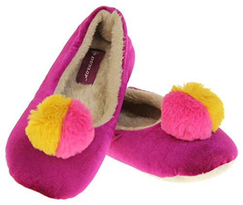 Dunlop Mujer Zapatillas de Pom Pom cálido Confort