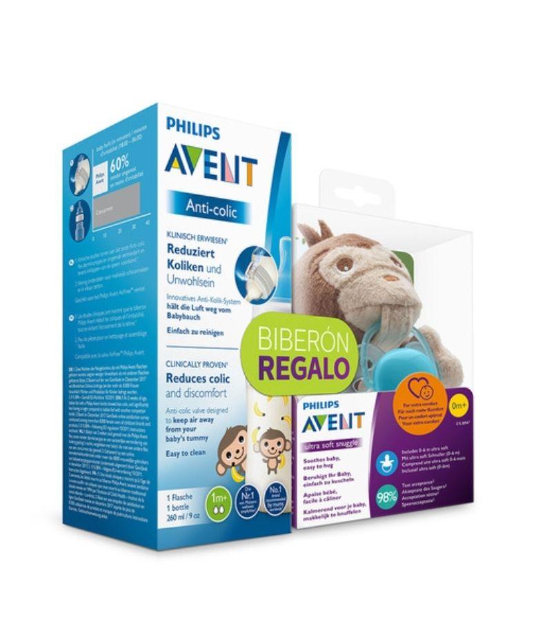 Pack de regalo Philips Avent Peluche Mono marrón con Chupete Ultra Soft azul