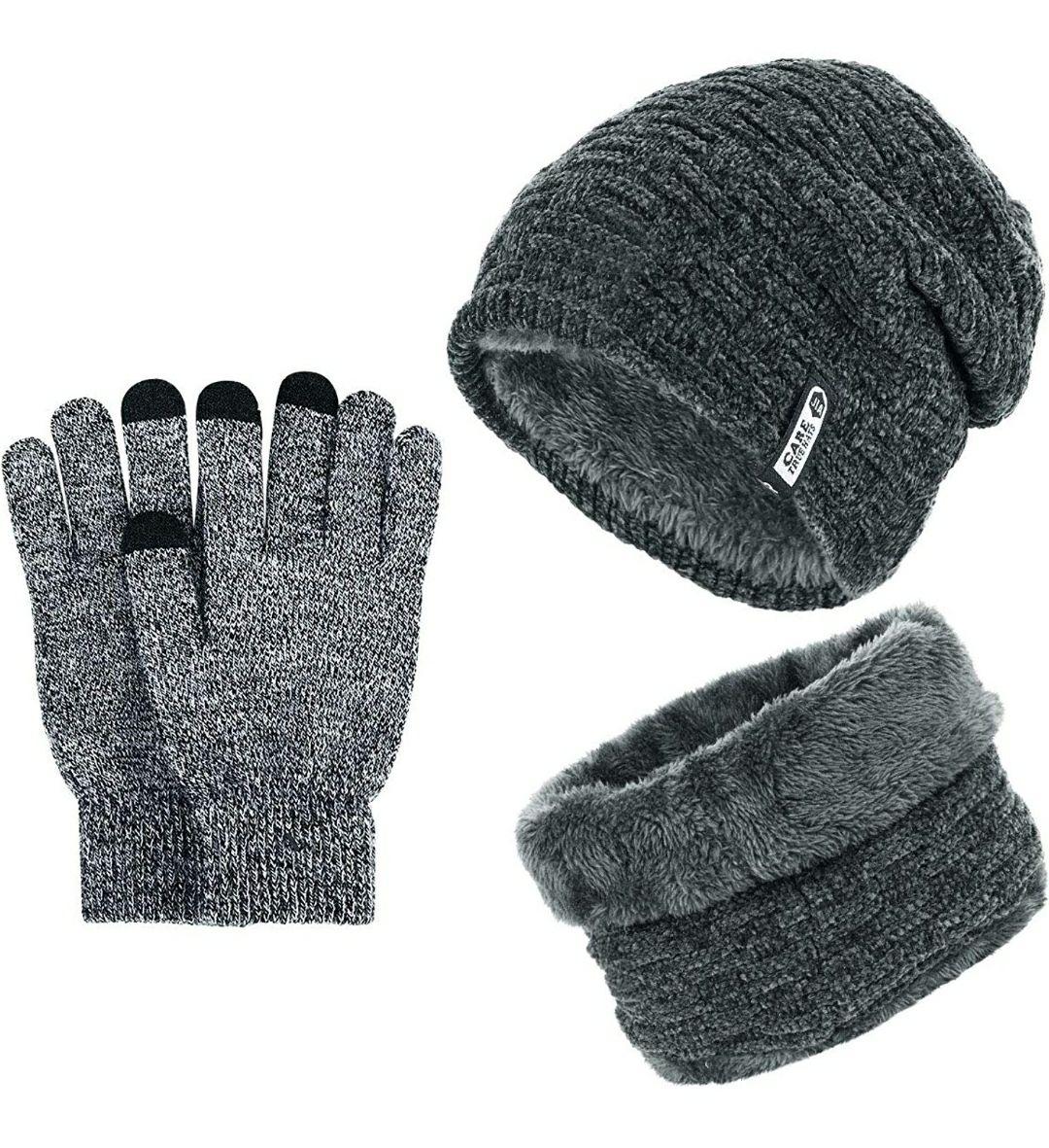 Conjunto de lanade gorro, bufanda y guantes