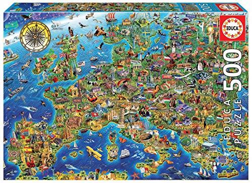 Educa Borras - Puzzle Mapa De Europa 500 Piezas