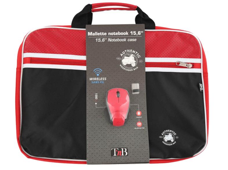 "Kit maletín+Ratón - t-nb NBAUTH15RD+MM240RD, Inalámbrico, USB, Funda portátil, 15.6"", Rojo y Negro"