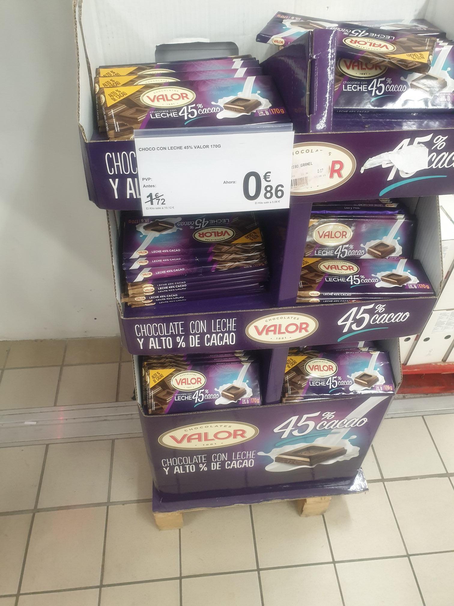 Chocolate con leche Valor 170g Carrefour Águilas