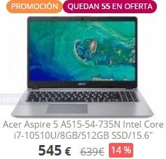 "Portátil Acer Aspire 5, 15,6"" Full HD, i7 de 10ª generación, 8GB, 512GB SSD"