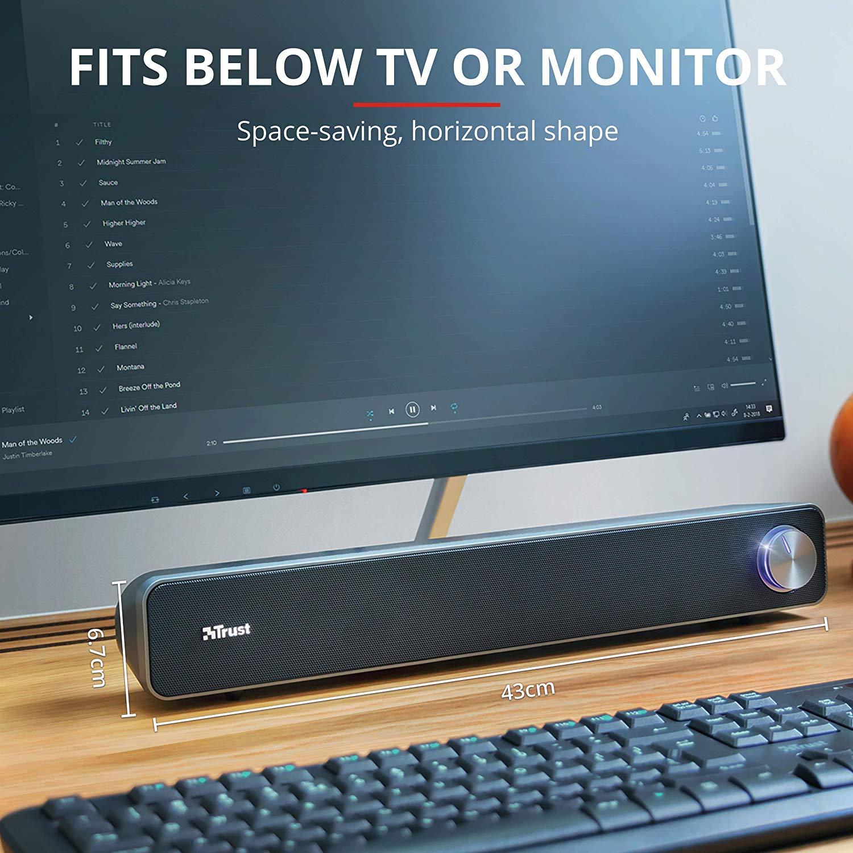 Barra de sonido para ordenador Trust, USB, color negro. Reaco, estado muy bueno